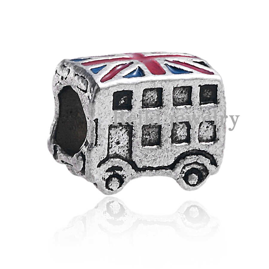 Pure Silver plated Jewelry London Bus Beads Fit  DIY European Charms Style Bracelet