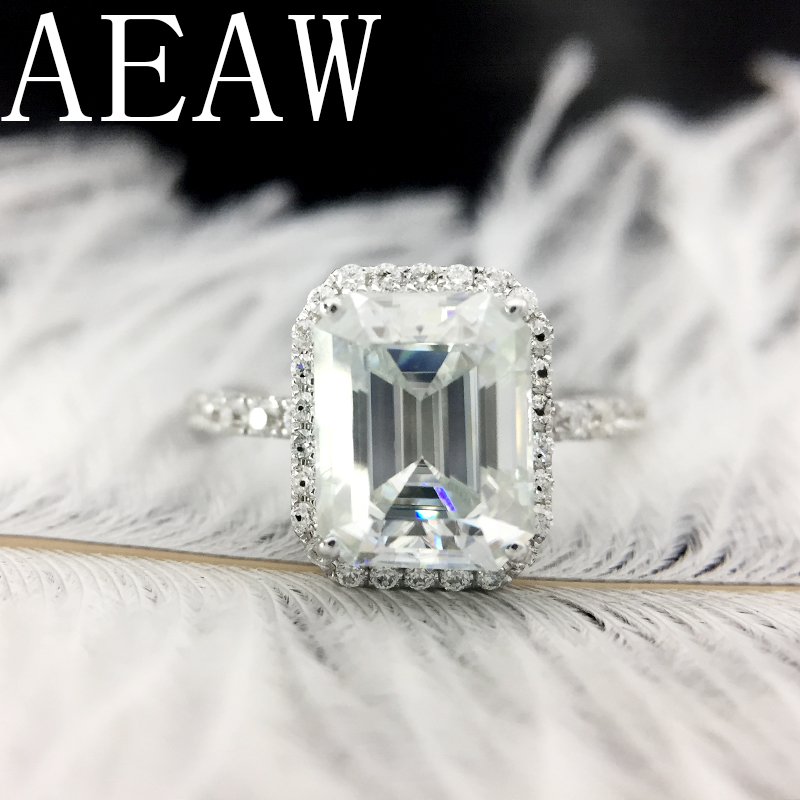 AEAW Solid 14K White Gold 1ctw Moissanite DF Color Emerald  Baguette Ring Moissanite Accent luxury Fine gold jewelry for Women