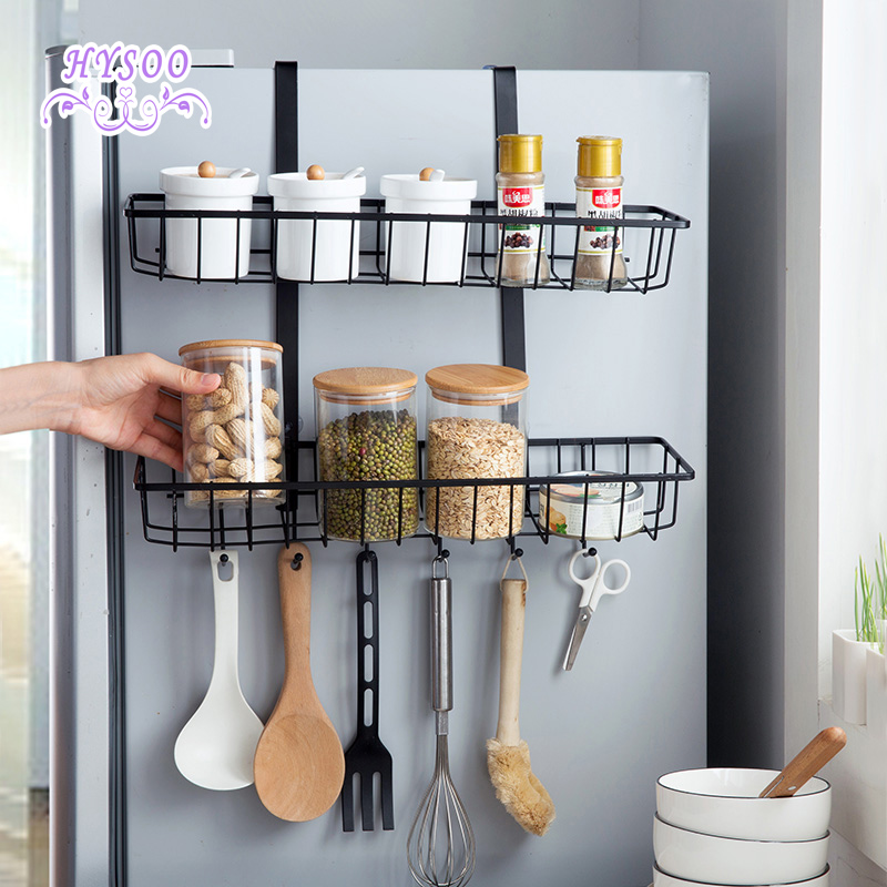 iron double layer refrigerator racks side wall storage racks kitchen Side Wall Shelves