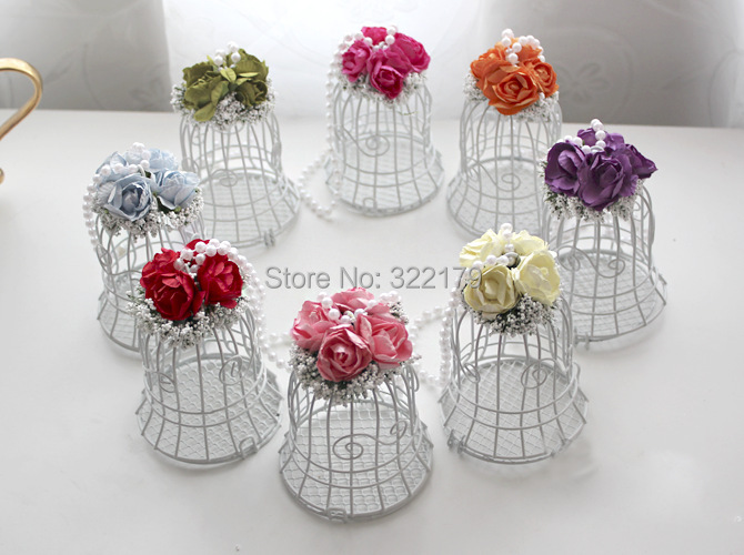 10pcs Metal White Bird Cage Candy Box Wedding Gifts Favors