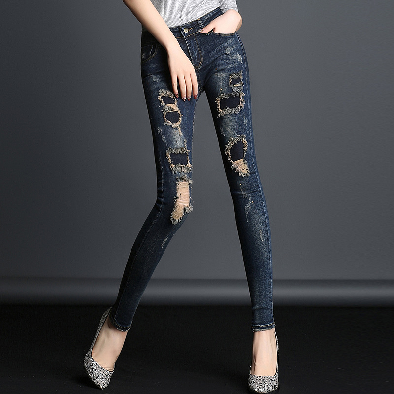 Tight jeans Woman Plus Size Korean Mid Waist Stretch Slim Ripped jeans For Women Popular 2017 Hole Denim Pants Pencil Trousers