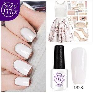 2017 Newest Nude White Color Series Nail Gel Polish Varnish Nail Art UV Led Soak off Gel Nail Polish 7ML Glitter Nail Lacquer
