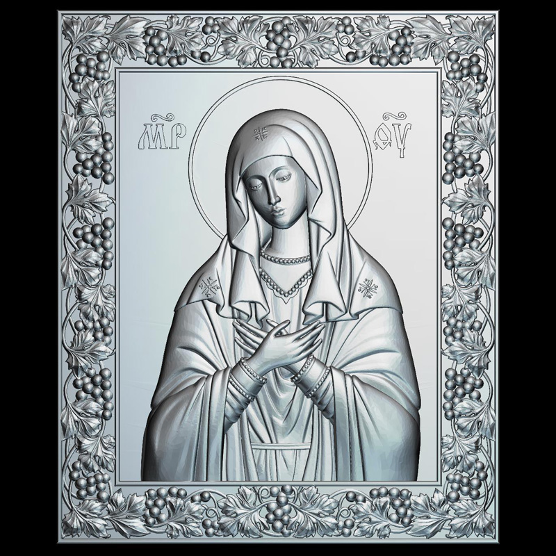 Icon Of The Mother Of God Tenderness 3d Model For Cnc STL Format Religion 3d Relief Model STL Router 3 Axis Engraver ArtCam