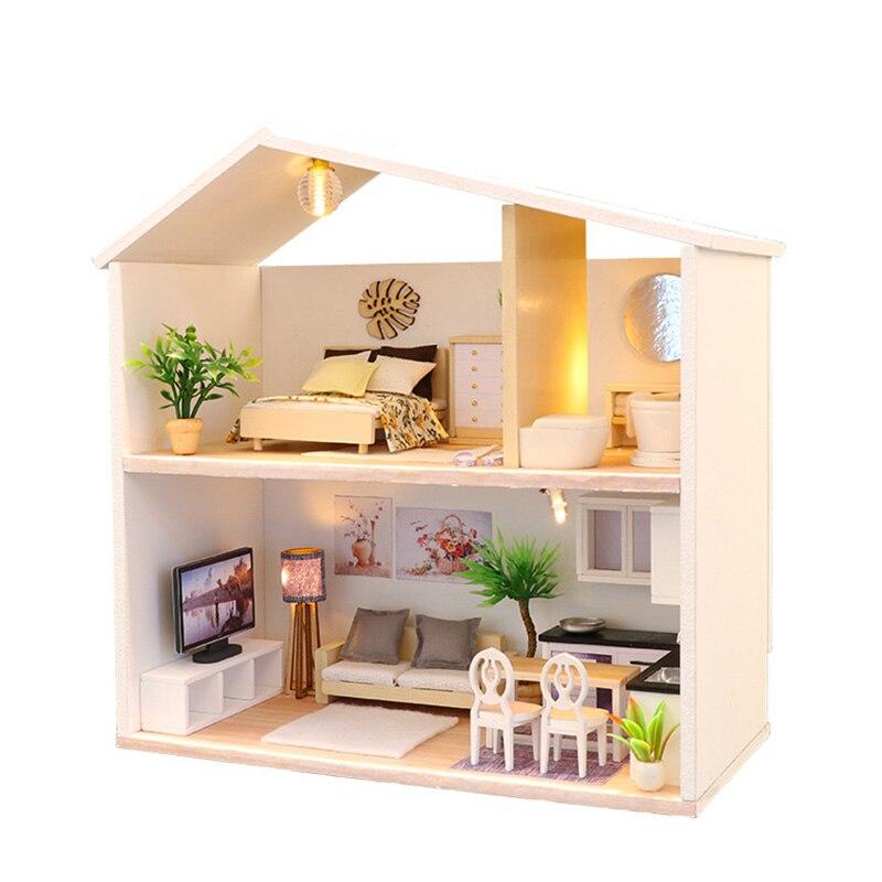 DIY Doll House Wooden Miniature Dollhouse Furniture Assemble Kits 3D Handmade Mini Dollhouse Toys For Children Birthday Gifts