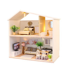 DIY Doll House Wooden Miniature Dollhouse Furniture Assemble Kits 3D Handmade Mini Dollhouse Toys for Children Birthday Gifts(China)