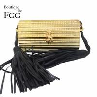 Black Tassel Dollar Hasp Hard Case Mini Women Gold Acrylic Evening Clutch Bag Party Prom Handbag