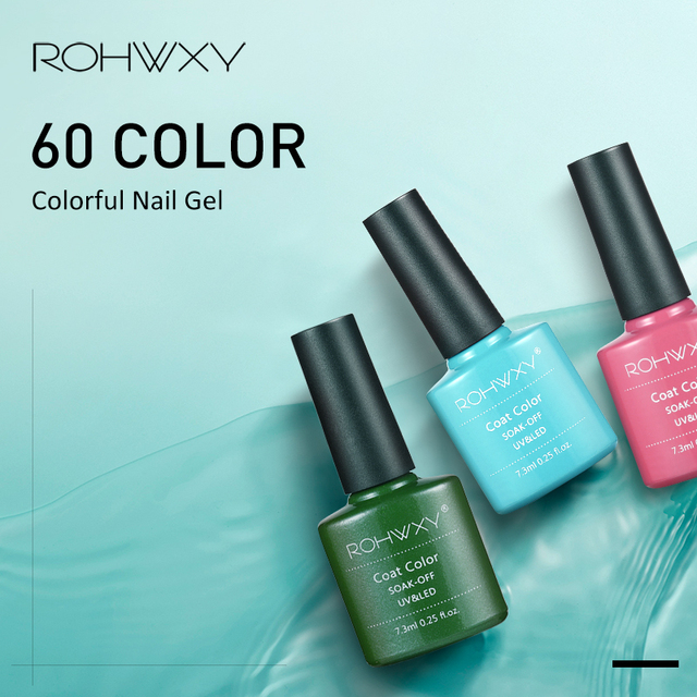 ROHWXY Top Base Coat Gel Polish UV Shiny Sealer Soak off Reinforce 7.3ml Long Lasting Nail Art Manicure Gel Lak Varnish Primer