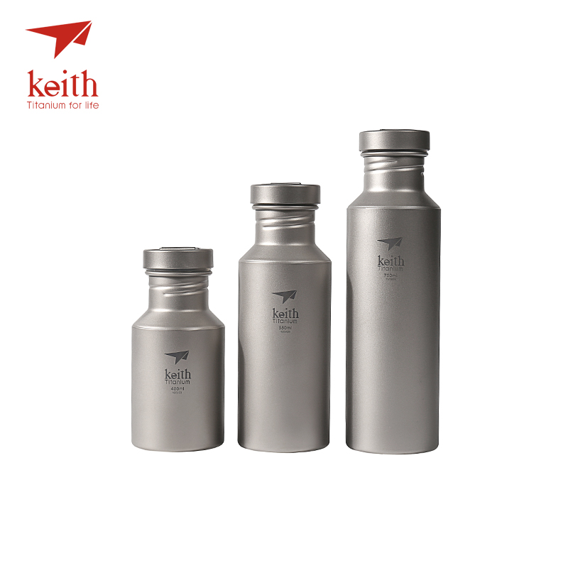 Keith Outdoor Titanium Water Kettles With Titanium Lids Drinkware Camping Ultralight Travel Water Bottles 400ml 550ml