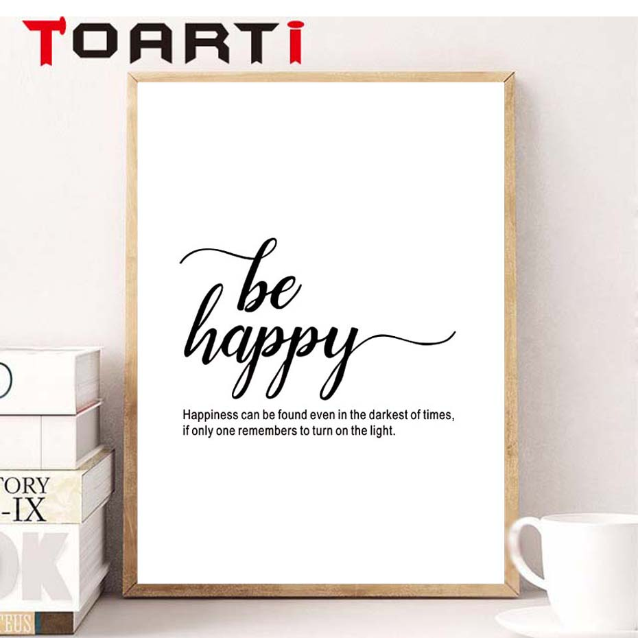 Be Happy Poster Quote Canvas Art Painting Fashion Wall Decor Pictures For Living Room Home Decoration