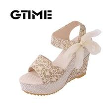GTIME Mode Sandales Cales D'été Femmes Sandales Plate-Forme de Dentelle Ceinture Arc Flip Flops Bout Ouvert à talons hauts Femmes chaussures # ZWS66