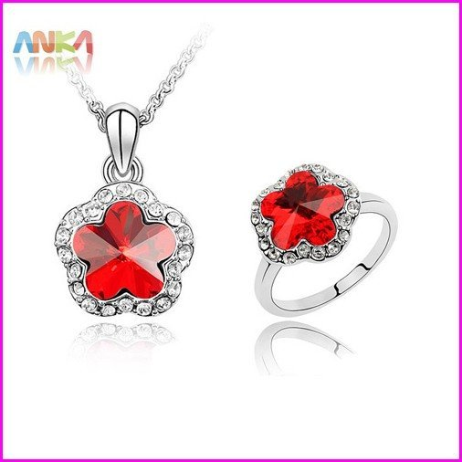 Free Shipping Nickel Free Crystal Jewelry Set Make With SWA Elements Austrian Crystal Ring+Necklace #83967