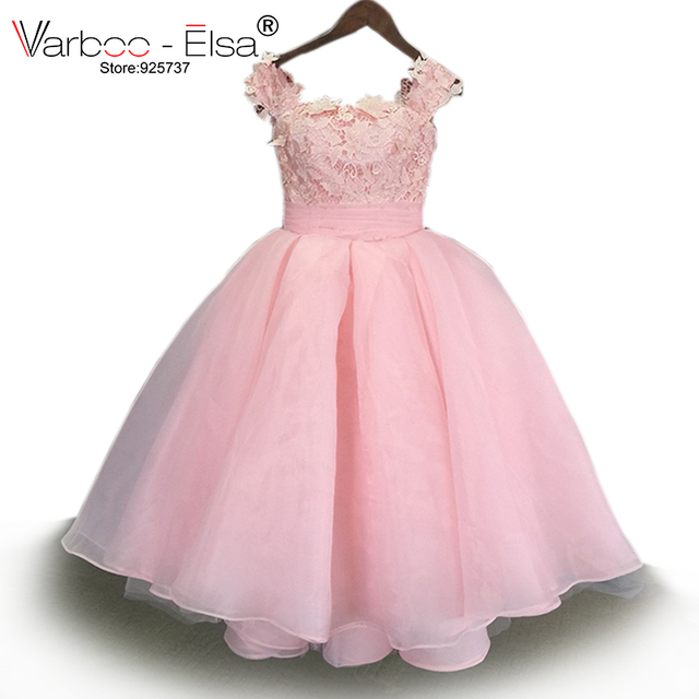e0a85f7762 US $96.0 20% OFF|VARBOO_ELSA 2017 Princess cap Sleeve Lace Flower Girl  Dress 2017 Vestidos Puffy Pink Kids Evening Ball Gown Pageant Dress  Girls-in ...