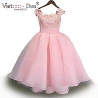 VARBOO_ELSA 2017 Princess cap Sleeve Lace Flower Girl Dress 2017 Vestidos Puffy Pink Kids Evening Ball Gown Pageant Dress Girls