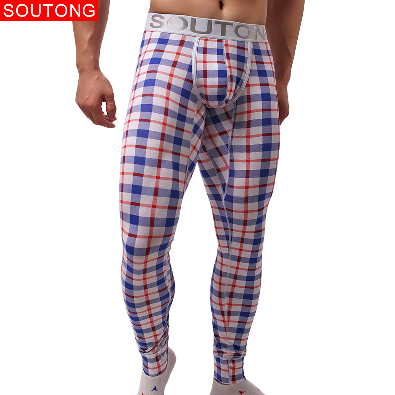Soutong 2019 Underwear Winter Warm Men Long Johns Cotton Plaid Printed Long Johns Men Thermal Underwear Men Thermal Pants Qk09