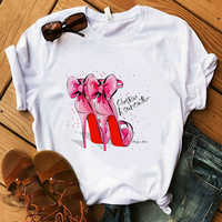 Pink High Heel Bow T Shirt Women 100% Cotton Summer Shirt Lady Floral Heart Tees Harajuku Casual T-shirt Luxury Tops Gift