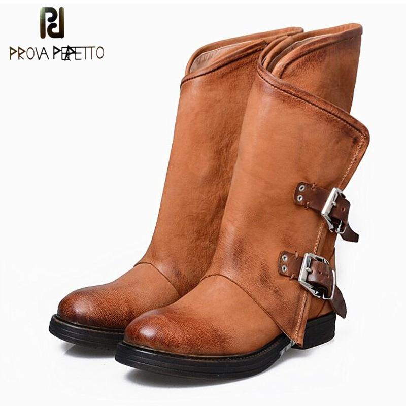 Prova Perfetto Women Martin Boots Genuine Leather Warm Winter Shoes Botas Feminina Motorcycle Low Heel Round
