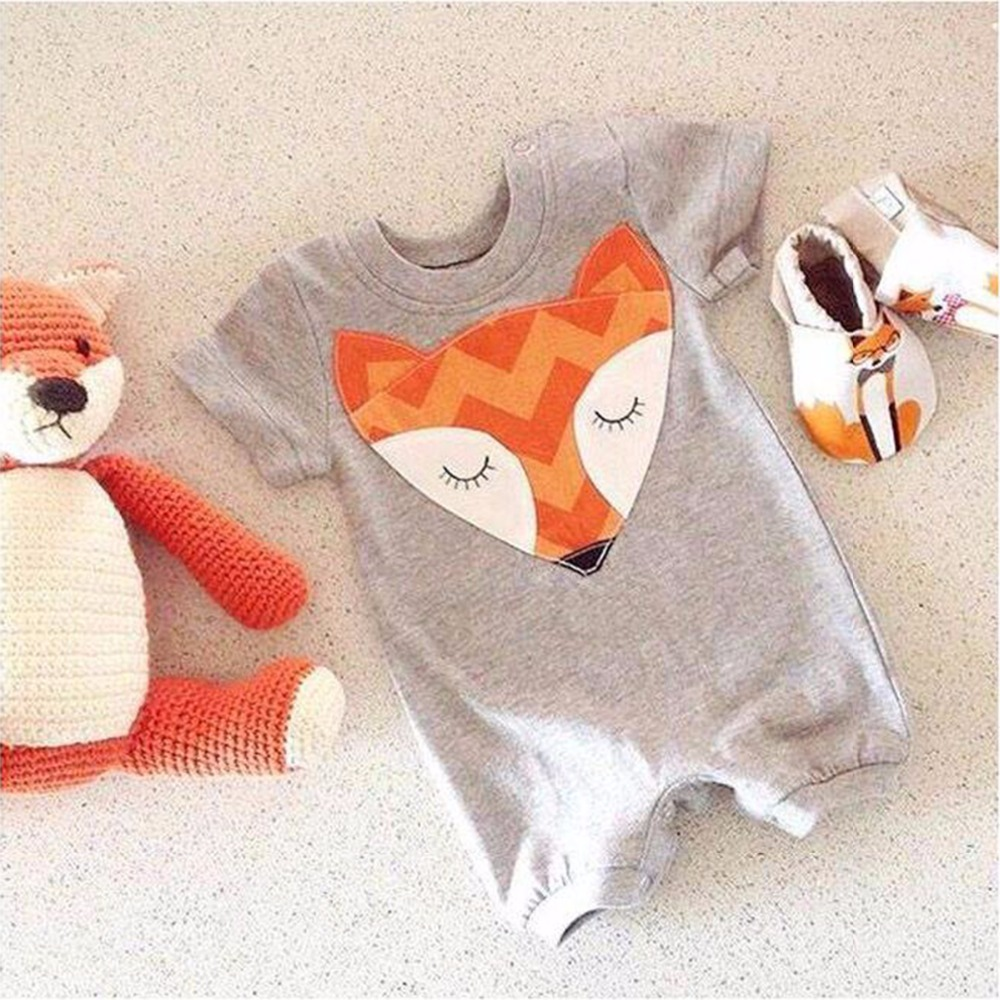 0-24M Baby Romper Clothes Cute Fox Print Short Sleeve Jumpsuit Newborn Baby Girls Boys Tiny Cotton Playsuit Rompers 2017  Summer brand 100% cotton new 2017 ropa bebe newborn baby girls clothing clothes romper creeper jumpsuit short sleeve baby girls rompers