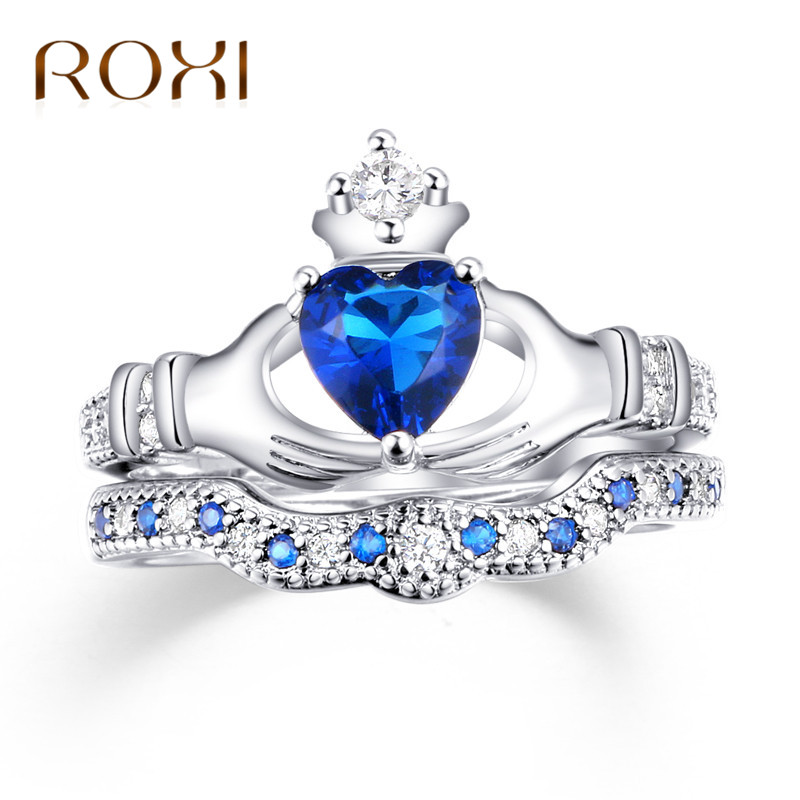 ROXI Anillos 2017 Love Crown Hand Heart Clah-Duh Claddagh Ring Sets Sliver Color Blue CZ Crystal Wedding Rings for Women Jewelry