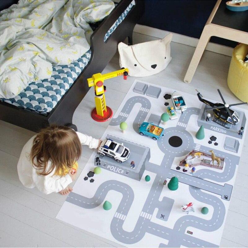 Nouveau 130*100 cm tapis de jeu pour bébé tapis de jeu imprimé autoroute tapis de Puzzle enfant en bas âge ramper enfants tapis de jeu infantile Blanke