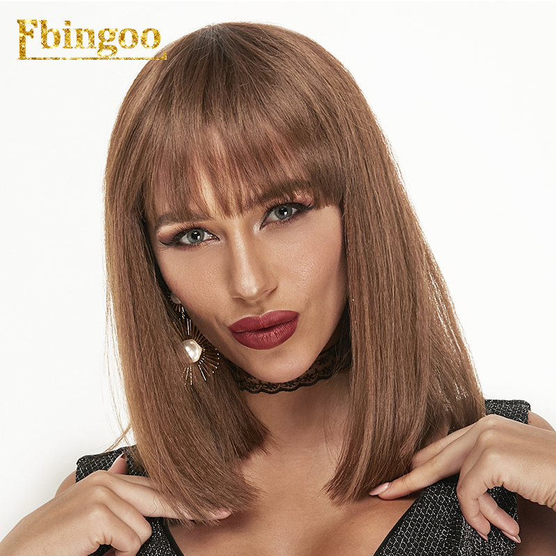 Ebingoo Brown Straight Bob Synthetic Wigs with Fringe Shoulder Length Futura Fiber Hair Heat Resistant Wig 14 quot in Synthetic None Lace Wigs from Hair Extensions amp Wigs