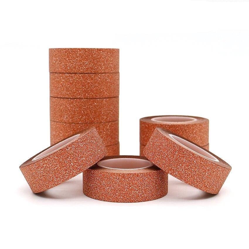 10m*15mm Creative Orange Colour Washi Tape Glitter Flash Stickers DIY  Decoration Adhesive Hand Account Tape Masking Tape 1 PCS