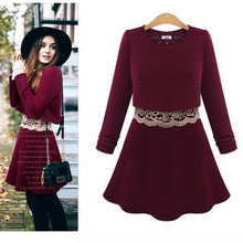 Plus SizeCotton Patchwork Lace Women Dress Casual Slim Vintage O-Neck Vestidos <font><b>Office</b></font> Full Sleeve NL0141
