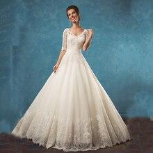Hot Sale Princess Wedding Dress 2017 With Half Sleeves Lace Appliques Ivory Bridal Dresses Vestidos De Noiva Custom Made