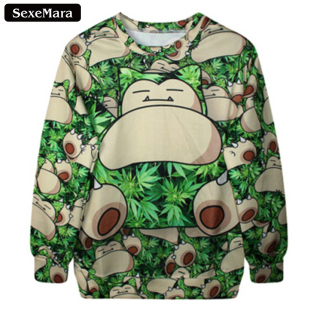 SexeMara 2017 Pokemon Snorlax Cartoon Sweatshirt Spring Fashion Cute Kawaii Sudaderas Casual Harajuku Slim Printed Pullover G211