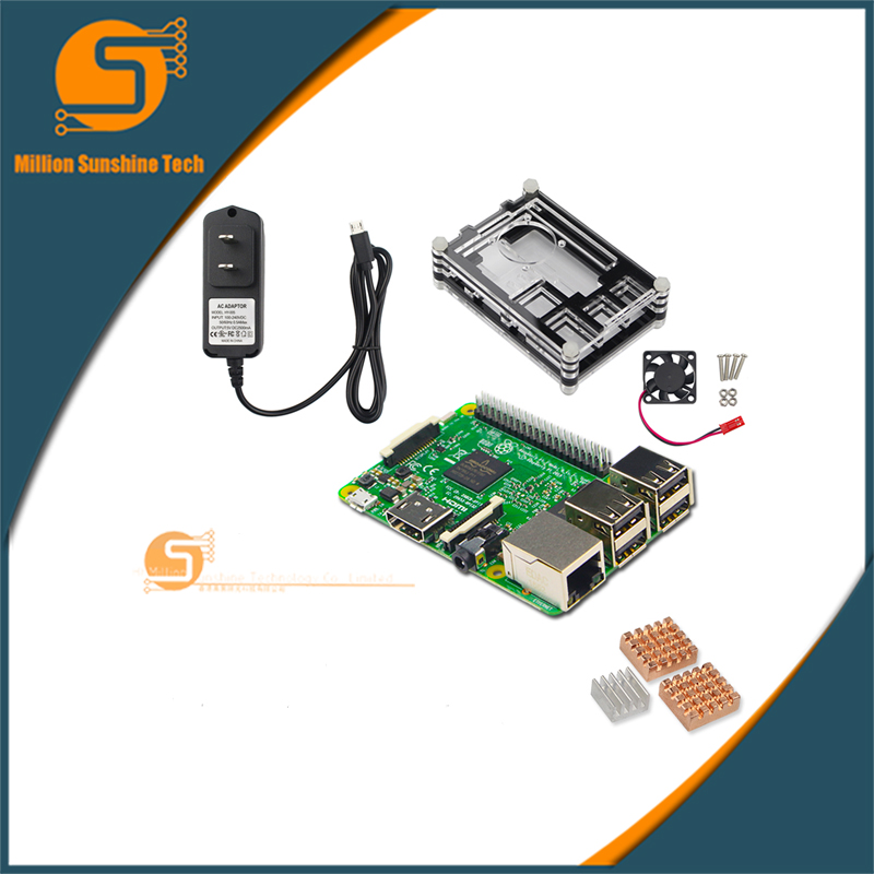 UK RS Version Raspberry pi 3 + Heat sink+ Case Box+ Cooling fan+power charger plug for Raspberry pi 3 B free shipping free shipping pure nature raspberry extract raspberry ketones powder 500mg x 100caps