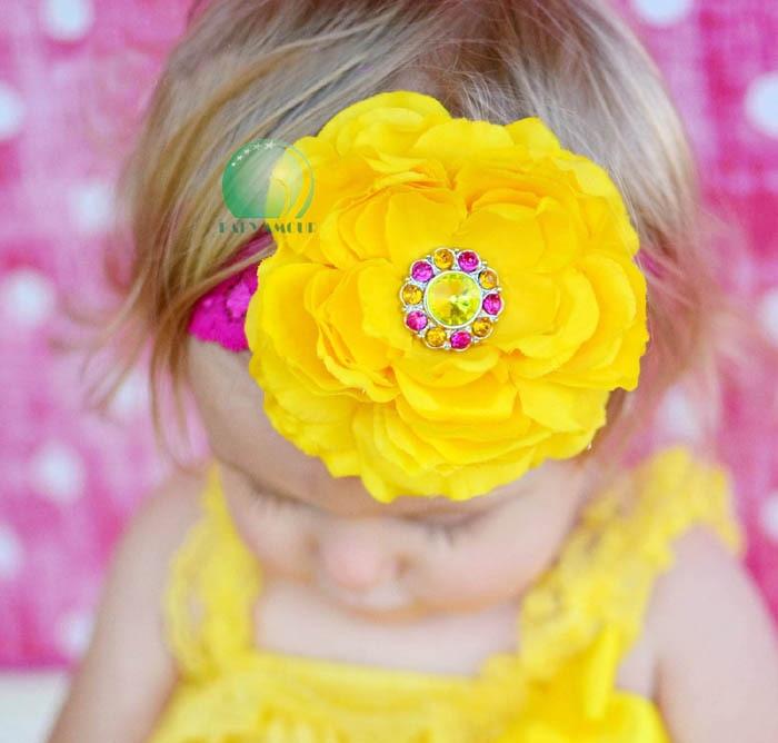 (1 piece) nice girls yellow headbands baby headwear