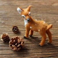 Smallsweet Deer Christmas Xmas Home Decor Fluff Sika Deer Mini Simulation Animal Photo Props Landscape Decorations