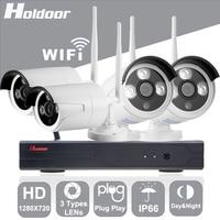 Dingteng 4CH WiFi Wireless Security System 720P Network Camera Wireless Wire IP Camera Waterproof IP65 Night