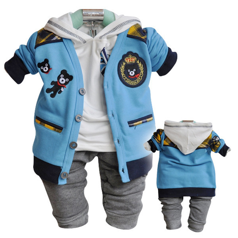 Anlencool Free shipping baby clothes set upscale European version of the three-piece cotton hooded cardigan Cubsbaby clothing fundamentals of physics extended 9th edition international student version with wileyplus set