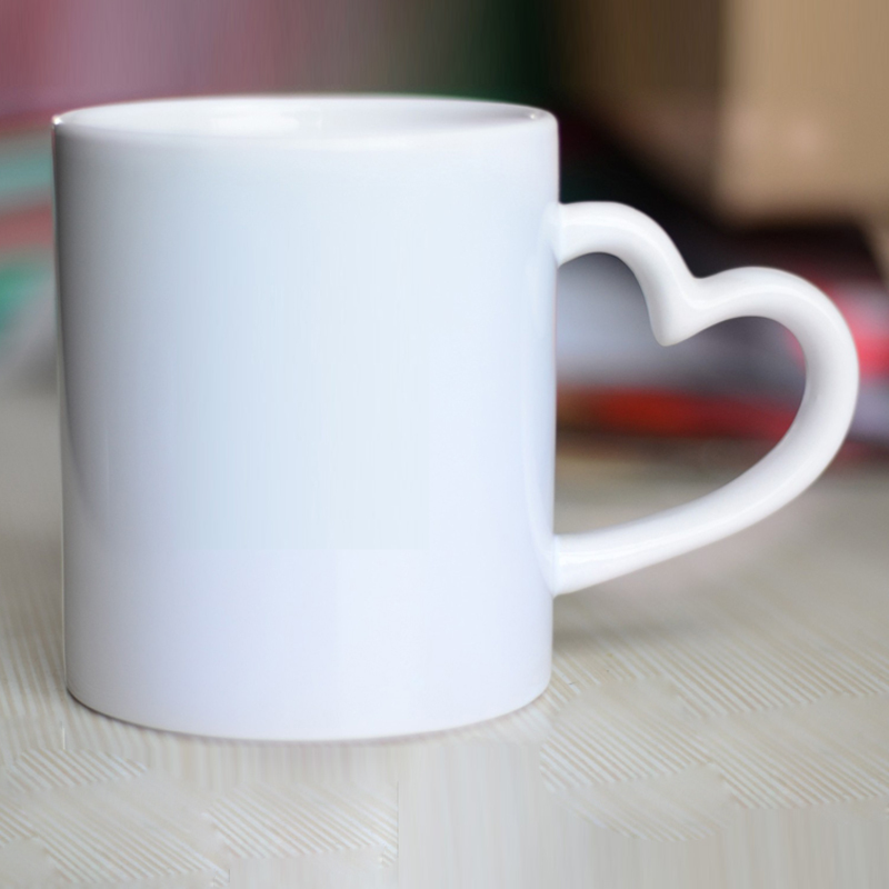 11 Oz White Ceramic Mugs With Heart Shape Handle Heat