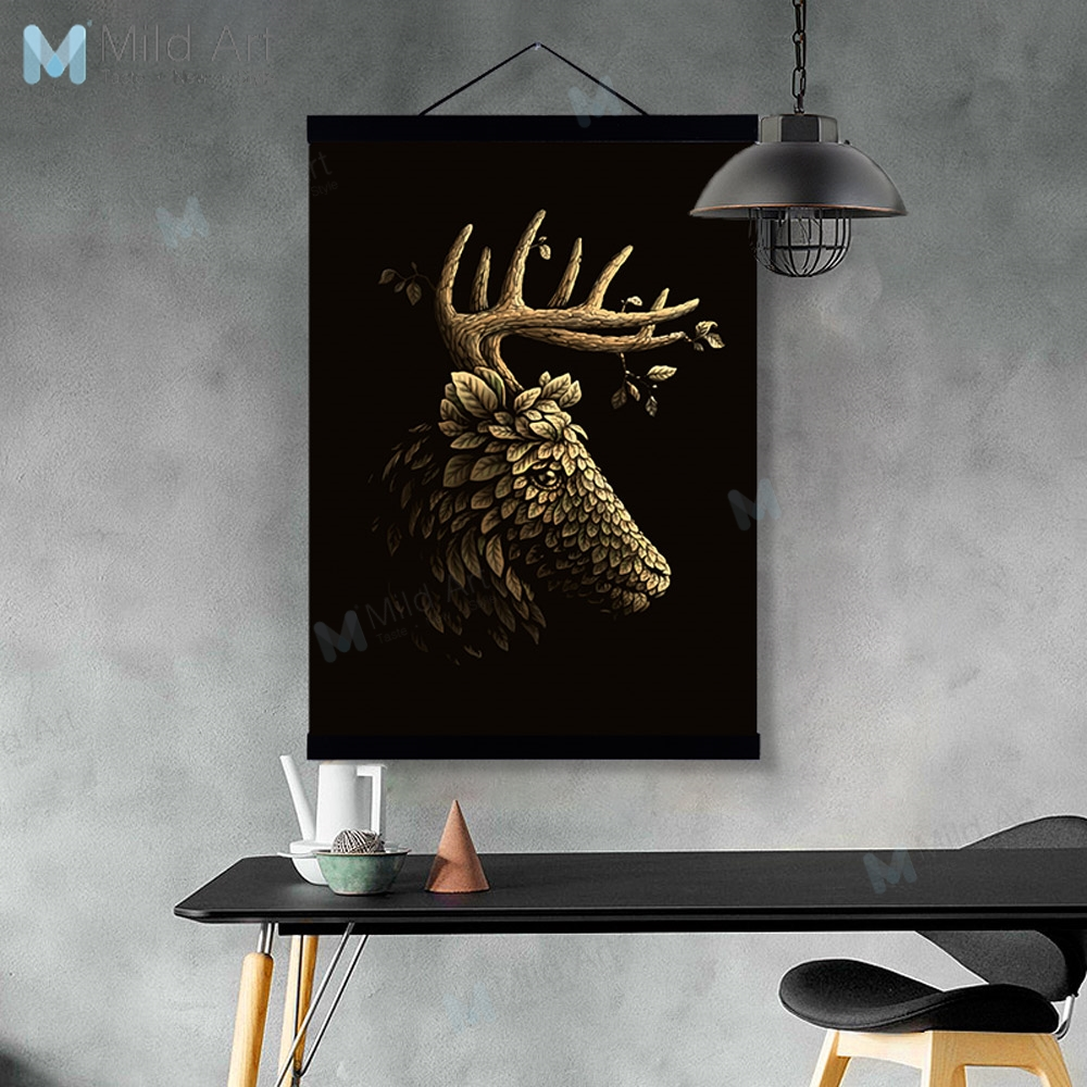 Vintage Gold Leaf Statue Deer Wooden Framed Posters And