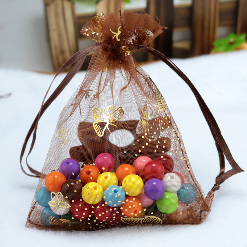 Small Wedding Gift Bags: Wholesale 100pcs/lot Coffee Organza Bags 7x9cm Small
