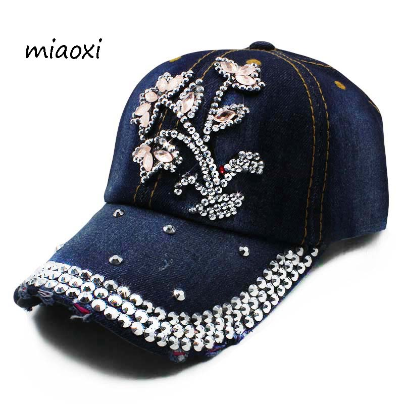 miaoxi New Fashion Floral Adjustable Women Cowboy Denim Baseball Cap Jean Summer Hat Female Adult Girls Caps Snapback Bone Hats cowboy hat cap cap flat top hat lace rhinestone flower hooded fashion tide cap cap riding hood