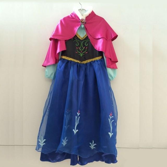 Niñas ccsme DHL envío gratis princesa ana Elsa partido de los niños del vestido de fiesta + cabo de piel falsa de Halloween vestido