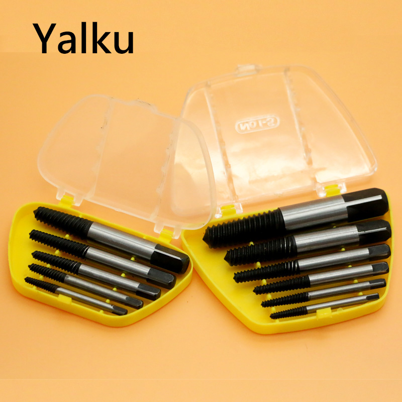 Orderly Yalku New 5/6pc Double Side Damaged Screw Extractor Drill Bit Guide Removal Broken Bolt Stud Easy Out Set Works With Any Drill Reliable Performance Drill Bits