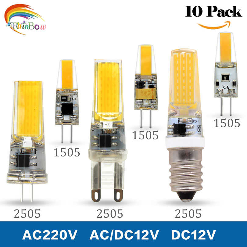10pcs/lot  LED G4 G9 Lamp COB 1505 Bulb AC/DC 12V AC220V 6W 9W COB SMD LED Lighting Lights replace Halogen Spotlight Chandelier