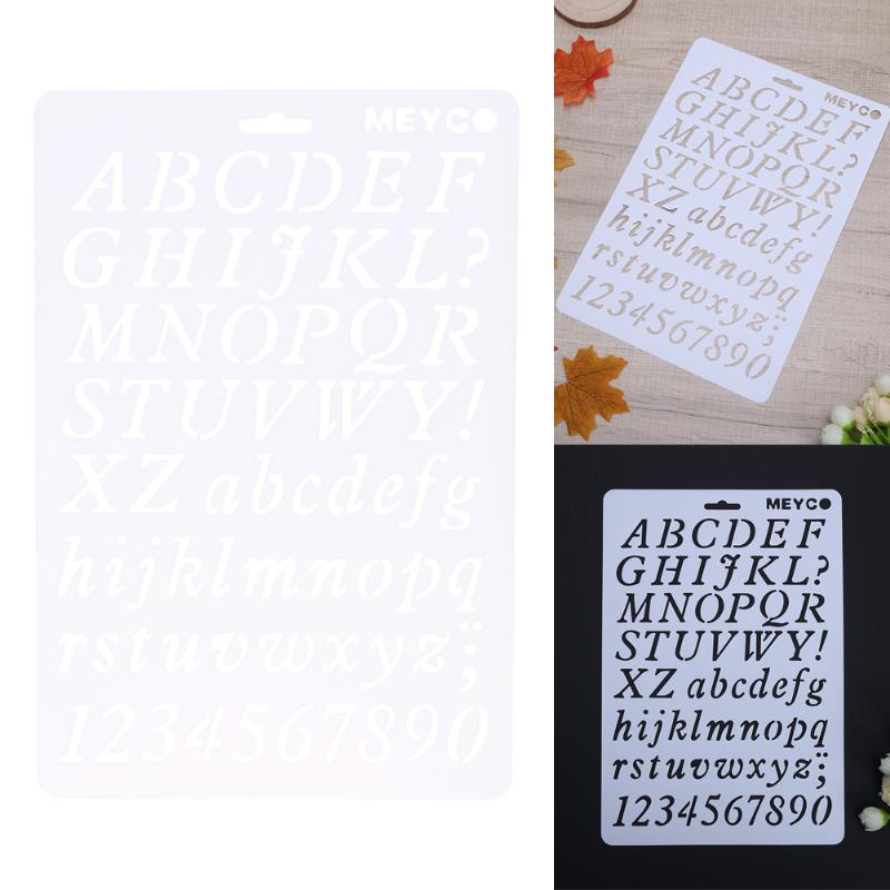 DIY Craft Number Letter Alphabet Layering Stencils For Wall Painting Scrapbooking Stamp Decor Card Plastic Pochoir Template