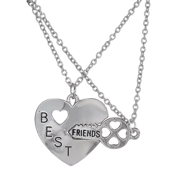 Distance Friendship Style Broken Heart 2 Parts Pendant Necklace ...
