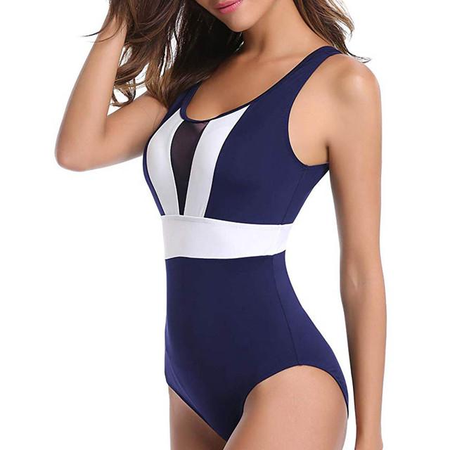 Swimwear Women Black Patchwork One Piece Swimsuit Women Mesh Retro Swimwear Womens One Piece Sexy Swimsuit Womens 2019
