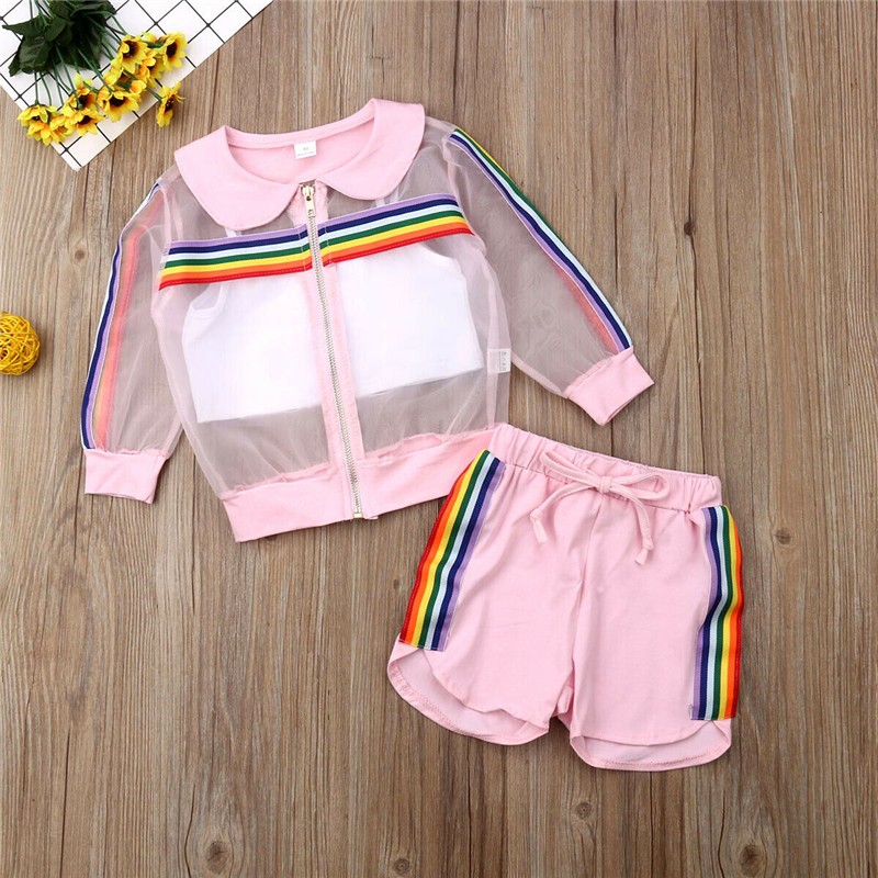 Infant Toddler Baby Girl Zipper Mesh Coat+Tank Top+Shorts Cute Rainbow 3Pcs Set