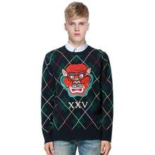2017 HOT ECTIC Men Thickened sweater demon pattern fashion man Round neck Diamond lattice Jacquard coat S-XXL