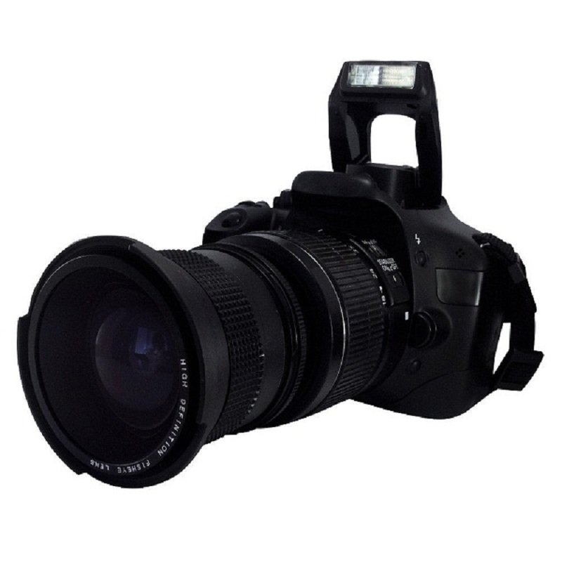 Lightdow 0.35x 58mm Super Fisheye Wide Angle Lens + 58мм Canon 70D 60D 7D 6D 700D 650D 600D 550D 1100D 18-55мм объективі үшін макрос линзасы