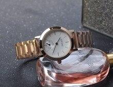 Новый простой классический ретро стильный и прочный из нержавеющей стали с Розовое Золото Женские Часы подарок