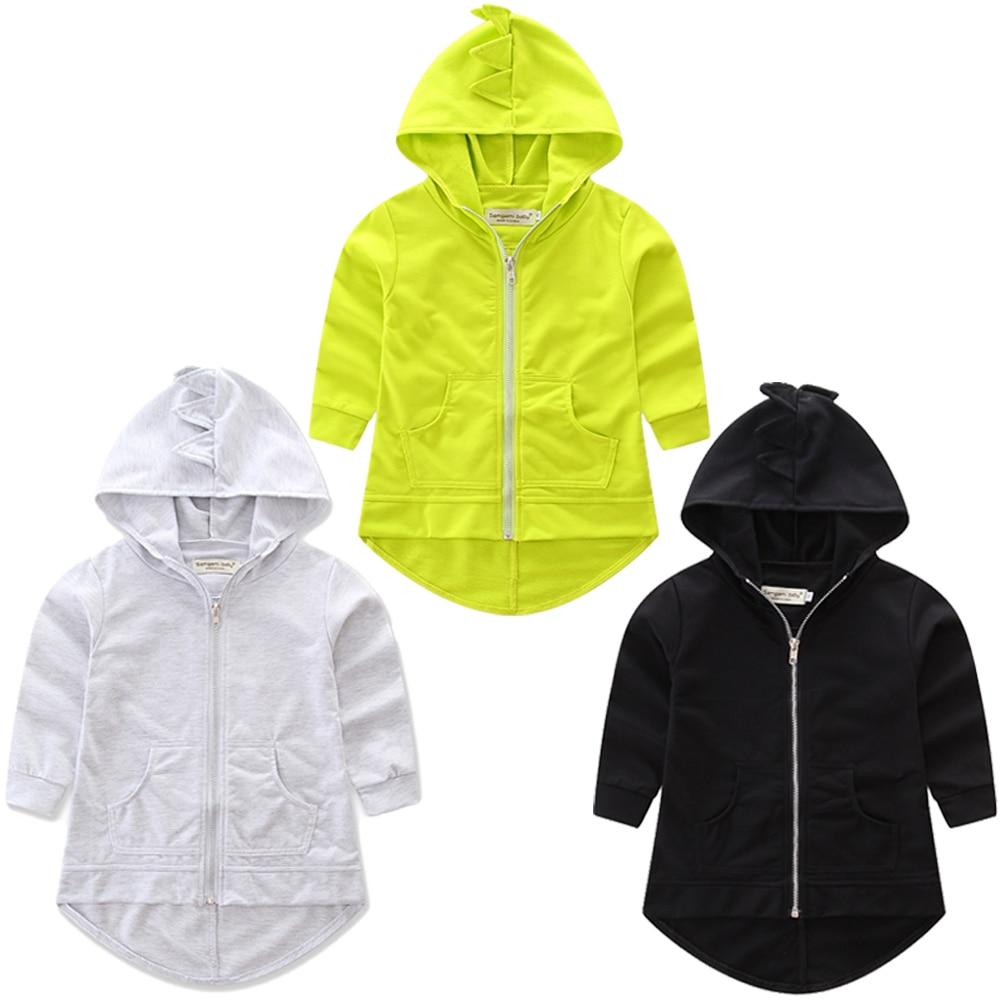 Hoodie Kids Outwear Sweatshirt Coat Jacket Spring Dinosaur Autumn Toddler Black Baby-Boys