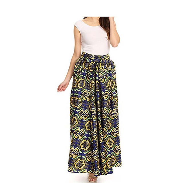 Skirts Patterns Maxi Skirt Fashion Flared Long Skirt Vintage Retro Rose  Floral Print Pleated Maxi Skirt