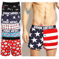 NEW 4pcs Pack/Lot PINK HERO Mens Shorts Cotton Soft Loose Arrow Casual Beach Pant Male Trunks Button Outer Wear Indoor Boxers